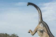 Retrato de um brontosaurus sobre o céu azul fotos de stock