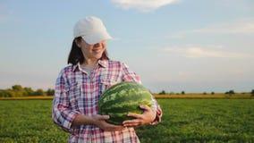 Retrato de um fazendeiro fêmea que guarda uma melancia madura video estoque