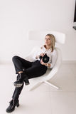 Retrato de um fotógrafo da menina Imagem de Stock Royalty Free