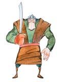 Retrato de um guerreiro parvo enorme que mantém um sabre que veste o traje medieval desenhado à mão ilustração royalty free