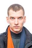 Retrato de um homem 30 anos velho em um fundo branco Imagens de Stock