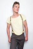Homem atrativo com Suspenders imagens de stock royalty free