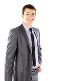 Retrato de um homem de negócio novo de sorriso imagens de stock