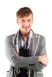 Retrato de um homem de negócios confiável Isolado sobre o branco Fotos de Stock Royalty Free