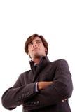 Retrato de um homem de negócios novo, no outono/inverno fotografia de stock royalty free