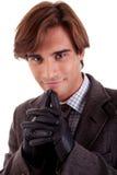 Retrato de um homem de negócios novo, no outono/inverno imagens de stock