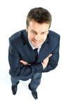 Retrato de um homem de negócio maduro feliz que olha agains seguros Fotos de Stock