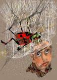 Retrato de um homem feio que olha um besouro Imagem de Stock Royalty Free