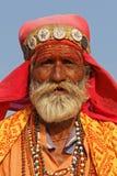 Retrato de um homem indiano em Pushkar justo imagem de stock