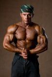 Retrato de um homem muscular com um torso despido imagem de stock