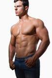 Retrato de um homem muscular descamisado Fotos de Stock