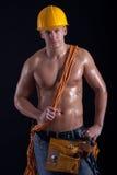 Retrato de um homem muscular, homem naturalmente construído imagem de stock