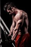 Retrato de um homem novo da carne sem gordura do ajuste que exercita em um gym foto de stock