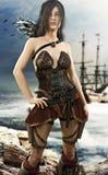 Retrato de um levantamento fêmea do pirata após a vinda em terra ilustração stock