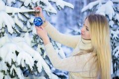 Retrato de um louro bonito no inverno Fotos de Stock