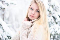 Retrato de um louro bonito no inverno Foto de Stock