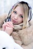 Retrato de um louro bonito no inverno Imagem de Stock