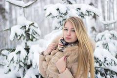 Retrato de um louro bonito no inverno Imagens de Stock