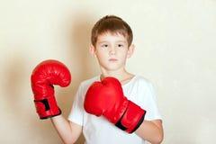 Retrato de um menino em luvas de encaixotamento vermelhas Fotos de Stock Royalty Free