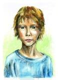 Retrato de um menino inteligente ilustração royalty free