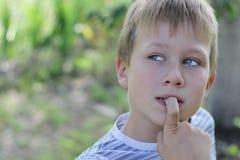 Retrato de um menino louro Imagem de Stock