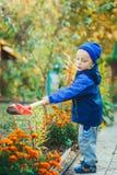 Retrato de um menino que trabalha no jardim Imagem de Stock Royalty Free