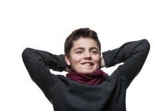 Retrato de um menino satisfeito Fotografia de Stock