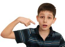 Retrato de um menino surpreendido foto de stock
