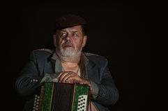 Retrato de um militar aposentado idoso com acordian Imagens de Stock
