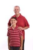 Retrato de um pai e de um filho latino-americanos felizes Imagem de Stock Royalty Free