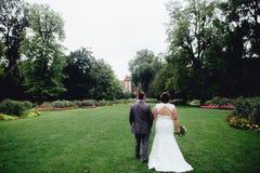Retrato de um par bonito do casamento fotos de stock royalty free