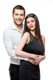 Retrato de um par de sorriso feliz novo bonito fotografia de stock royalty free