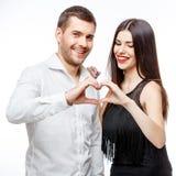 Retrato de um par de sorriso feliz novo bonito fotos de stock royalty free