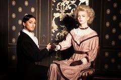 Retrato de um par no estilo antiquado Imagens de Stock Royalty Free