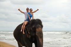 Retrato de um par novo feliz em um elefante no fundo de uma praia tropical do oceano fotos de stock royalty free