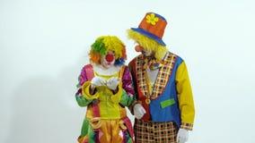 Retrato de um par palhaços de circo que têm o divertimento junto contra o fundo branco vídeos de arquivo