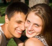 Retrato de um par romântico alegre Fotos de Stock