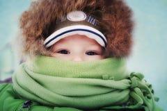 Retrato de um rapaz pequeno envolvido no lenço em um day_ frio do inverno Fotografia de Stock