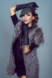 Retrato de um revestimento vestindo da raposa de prata do modelo glam bonito Fotos de Stock Royalty Free