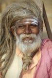 Retrato de um Sadhu indiano foto de stock