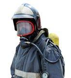 Retrato de um sapador-bombeiro no instrumento de respiração Foto de Stock Royalty Free