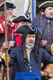 Retrato de um soldado medieval essa marcha na rua Fotografia de Stock Royalty Free