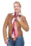 Retrato de um sorriso maduro ocasional da mulher fotos de stock