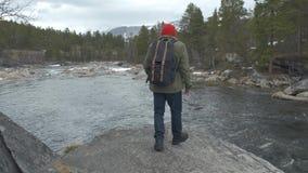 Retrato de um turista novo com uma trouxa Vista da parte traseira No fundo um rio, floresta, montanhas, c?u azul video estoque