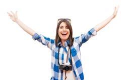 Retrato de um turista novo feliz Fotografia de Stock Royalty Free