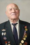Retrato de um veterano da grande guerra patriótica Imagens de Stock Royalty Free