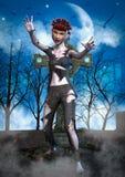 Retrato de uma boneca do zombi ilustração royalty free