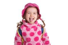 Retrato de uma crian?a de sorriso bonita em um fundo branco imagem de stock royalty free