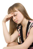 Retrato de uma expressão triste da mulher nova Foto de Stock Royalty Free