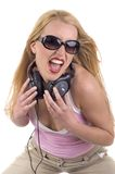 Retrato de uma fêmea DJ Foto de Stock Royalty Free